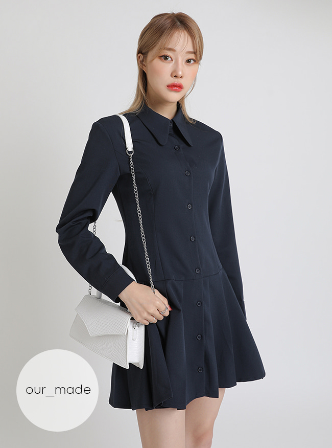 [our_made] 뉴린 플리츠 원피스 (Navy)[+영상]